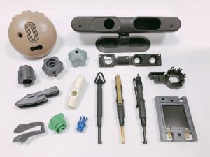 Plastic injection molded parts, overmolded parts